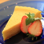 Healthy baked cheese cake in draining yogurt making