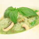With homemade basil sauce of white mushrooms and seared Basil risotto.