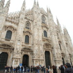 135 book stretches to Milan Cathedral of Milan symbolizes Gothic church spires and Golden Madonna statue
