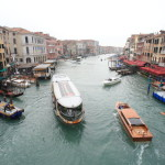 Views of the Grand Canal view from the Rialto-Bridge of marble and gondola ride