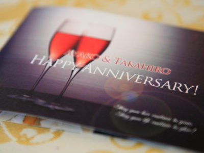 Wedding anniversary 2 of 藁婚 and 綿婚 expression festive lunch at hamanako Royal Hotel 'bombosur'