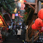 Red lanterns and 豎 Nagasaki routes of Jioufen Chihiro no kamikakushi stage was rumored to be stairs way
