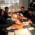 Friends and dinner at Mandarin Oriental Tokyo night views 'keski'
