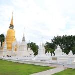 """""""屈蘇安多克""""花園和命名的寺廟美麗的純白色的佛塔令人印象深刻"""
