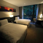 """Platinum Hotel"" Deluxe Twin Room that is lush forest through the window spread"