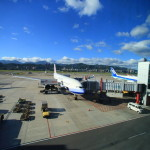 前面第 1 號颱風平安到達 ! 松山機場是靠近小鎮,非常方便 !
