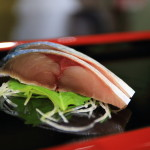 While picking up some fresh fish in Toyama Bay silver 8 sushi 漁reru's at Toyama at the bar!