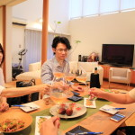 At home with the wine shop owners, held a party