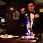 GLION STEAK HOUSE table performance with flambe desserts