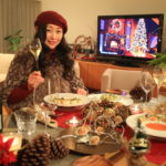 Husband and wife without any outsiders. Bliss at home spend Christmas Noël Dinner 2017