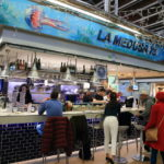In market at La Medusa 73 local people loved toast with fresh seafood specialities and Cava!